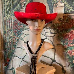 Ladies Red Western Hat